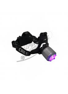Įkraunamas prožektorius ant galvos su UV šviesa